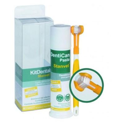 Stanvet Dentican Kit dental, Cepillo Triple Cabezal + Pasta Dental 100 ml