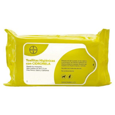 Bayer Sano & Bello Toallitas Higienicas Limpiadoras para Mascotas. Perfumadas con Aroma a Cidronela (Citronella)